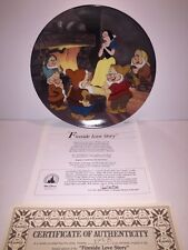 "Disney SNOW WHITE Knowles Collector Plate "" FIRESIDE LOVE STORY "" w/ COA & Paper"