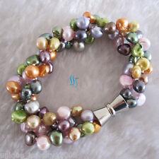 "8"" 7-8mm Multi Color 3Row Freshwater Pearl Bracelet Pearl Jewelry"