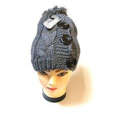 Pour femme épais bonnet en maille gris chapeau avec 3 boutons et nope-Nouveau