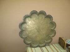 """Antique India Copper Brass Tray Etched Figural Wall Plate 19"""" scalloped edge"""