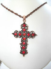 Kitsch Crystal Cross Antique Copper tone Pendant- Siam