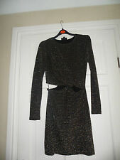 "TOPSHOP ~Beautiful Twist Front ""Metalic""Thread Strip Design Bodycon Dress Size 8"