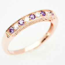 18ct Rose Gold Sterling Silver Half Eternity Ring Purple Amethyst CZ Size J