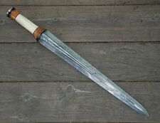 Hand Made Damascus Steel Viking Sword with Bone, Wood & Horn Handle & Sheath