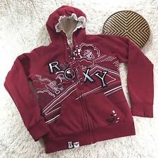 Roxy Hoodie Sweatshirt Juniors M Shearling Fleece Pullover Full Zip Long Sleeve