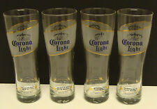 "CORONA LIGHT DOUBLE SIDED 8"" TALL SET OF 4pcs PILSNER 16oz. BEER GLASSES NEW"