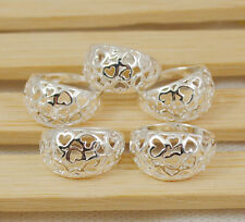 Hot  wholesale lots flower hollow 5PCS 925sterling silver  ring size 7-9 S017
