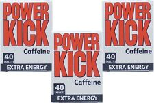 Power Kick Caffeine Extra Energy Tablets 40 Pack X3 TRIPLE PACK,Mental Alertness