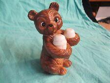 Brown Sitting Ceramic Bear Holding White Plastic Salt and Pepper Shaker       58