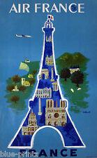 AIR FRANCE PARIS TRAVEL VINTAGE Villemot  ART PRINT PAINTING BLUE