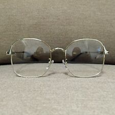 Silver Oversized Metal Frame Vintage Fashion Glasses 60s 80s