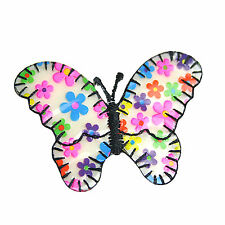 """New 2.5"""" X 1.5"""" Flower Fabric Butterfly Embroidred Iron on Motifs Patches"""