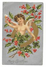 ANTIQUE UDB CHRISTMAS POSTCARD ANGEL CHERUB HORSESHOE CHAMPAGNE FLUTE HOLLY 1908