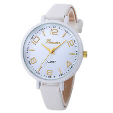 Fashion Women Geneva Stainless Steel Leather Analog Quartz Lady Girl Wrist Watch