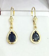 14k Solid Yellow Gold Leverback One Stones Dangle Earrings,Natural Sapphire2.5CT