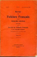 Revue de folklore français et de folklore colonial  Juillet Octobre 1935 N°4-5