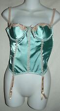 FREDERICKS Large GREEN SATIN and BEIGE LACE CORSET with GARTERS L garter
