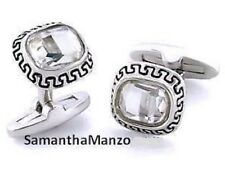 Mens Two Tone Greek Key BIG Crystal Blingy Cufflinks Cuff Ring Links Jewelry NEW