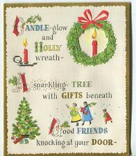 VINTAGE CHRISTMAS TREE WREATH FRIEND MODERN RETRO ILLUMINATED GOLD GREETING CARD
