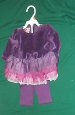 NEW HOLIDAY EDITIONS DRESSY OUTFIT GIRLS 0-3 MO'S ~ PURPLE...