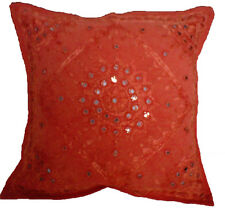 "Red Cushion Covers Cotton Mirrors Ethnic Handmade Embroidered Indian 16"" 40cm"
