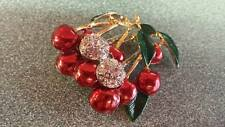 Gorgeous Vintage Rhinestone Enamel RUBY CHERRIES on Branches Figural Brooch Pin