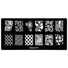 Manicure Konad Template Nail Art Metal Stamping Plate Mushroom Mimosa Maple A-17