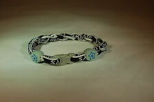"COWBOYS  FOOTBALL TITANIUM TORNADO ROPE BRACELET BLUE & SILVER  NEW 9"" INCHES"