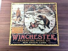 WINCHESTER AD TIN METAL SIGN - BEAR HUNTING REPEATING RIFLES - Vintage - Rare
