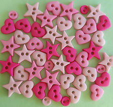 HOT PINK SHAPES - MICRO MINI Hearts Stars Round Dress It Up Craft Buttons