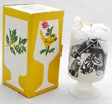 Picture Candles - Frosted Footed Glass Candleholder Christmas Nativity Scene