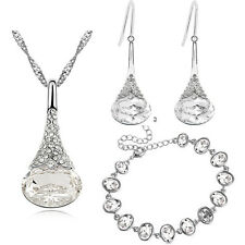 White Bridal Jewellery Set Drop Earrings Bracelet and Necklace Pendant S884