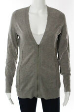 Christopher Fischer Gray Cashmere Solid Print Zip Knit Cardigan Size Small