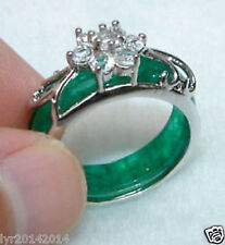 Beautiful Tibet silver  Green jade ring