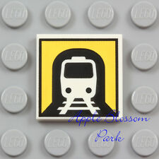 NEW Lego TRAIN SIGN TILE White 2x2 Minifig Subway Engine Car Tunnel Panel 10669