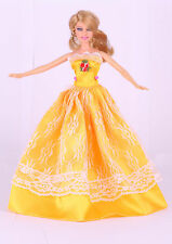 GORGEOUS Handmade Yellow The original soft clothes dress for barbies doll  02