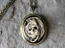 (BRONZE LOCKET)--SKULL AND DRAGON- DRAGON - SKULL CAMEO LOCKET, HAND PAINTED!!!