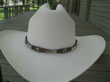 Hat Band #924BR - Leather - Brown with Stars, Conchos & Silver Plated Buckle Set