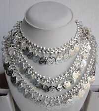 Layered Silver Coin Statement Necklace| Gypsy Boho Hippie Rave Festival Fashion