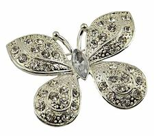 Plata de la Mariposa Broche de Diamantes de Imitación de Cristal Diamante Boda Nupcial Broche Pin