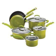 Rachael Ray Porcelain/Hard Enamel II Nonstick 10-Piece Cookware Set, Green