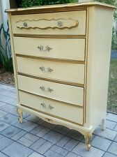 VINTAGE FRENCH PROVINCIAL DRESSER HIGH BOY - ORIG FINISH BONNET BY SEARS