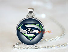 Seattle Seahawks football NFL Glass Cabochon Chain Pendant Necklace Fashion