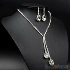 Fashion Bridal Wedding Silver Plated Crystal Rhinestone Necklace Earrings Set