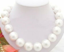 "HUGE 17"" 20MM WHITE SOUTH SEA SHELL PEARL NECKLACE AAA"