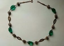 Stunning Art Deco Necklace Green Glass with Filigree Pieced Cubes and Oval links