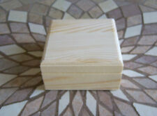 LOT of (4) Unfinished Wooden Mini trinket Box With Hinged Lid & Magnetic Closure