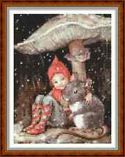 "'CHRISTMAS PIXIE AND MOUSE' Cross Stitch Chart/Pattern (6¼""x8½"") Xmas/Fantasy"