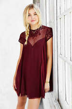 New Kimchi Blue Urban Outfitters Lily Embellished Trapeze Maroon Dress Small