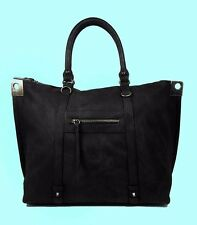 STEVEN BY Steve  Madden Blaurel Black Leather Satchel Bag Msrp $98